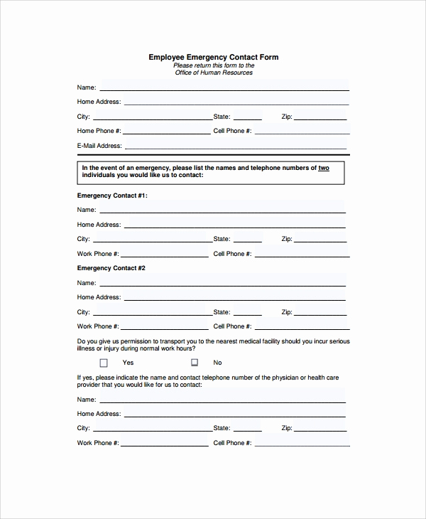 Emergency Contact form Template Luxury 8 Emergency Contact form Samples Examples Templates