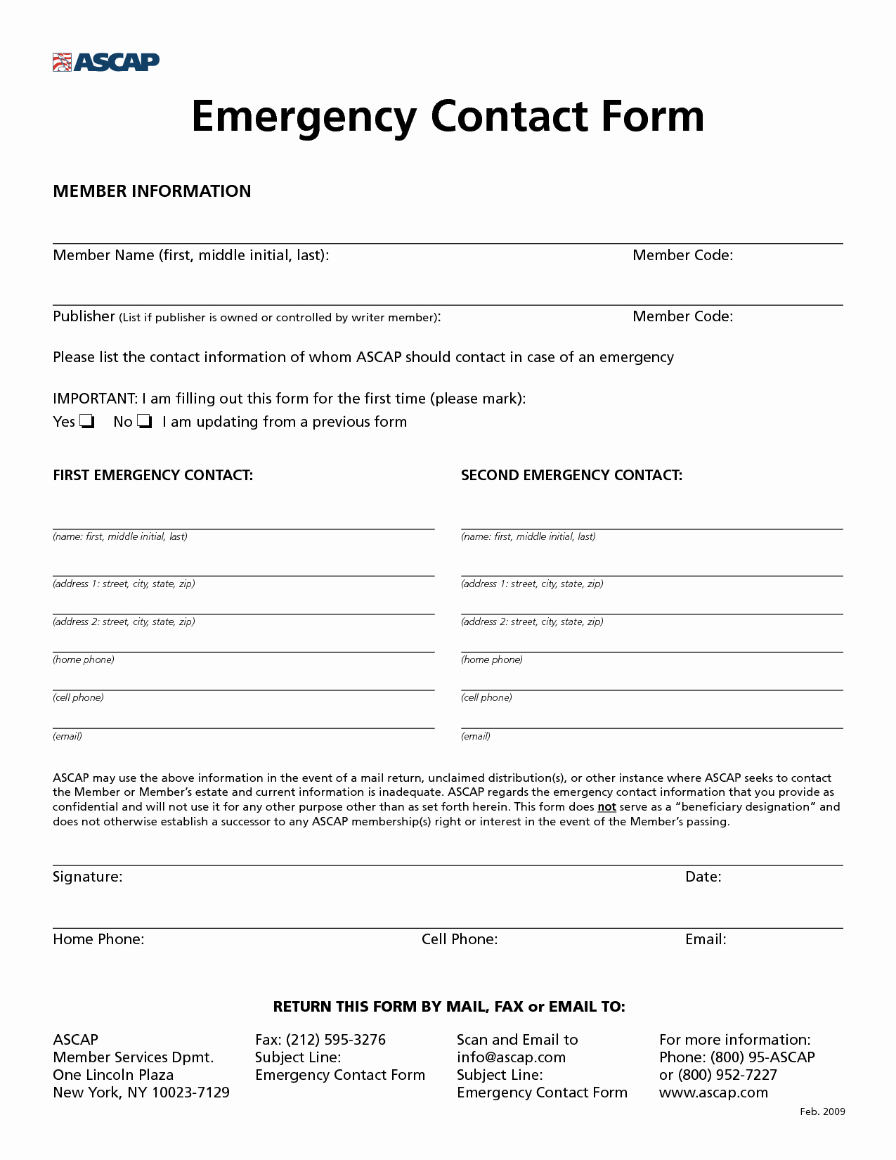 Emergency Contact form Template Unique 8 Best Of Printable Employee Information form New