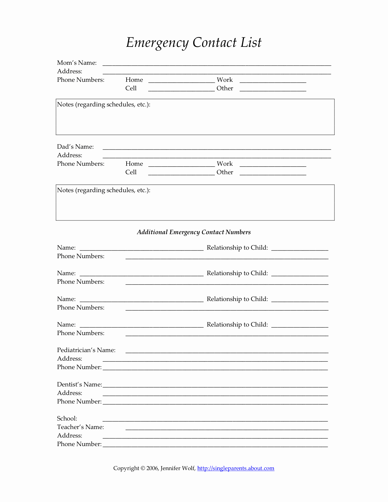 printable emergency contact form