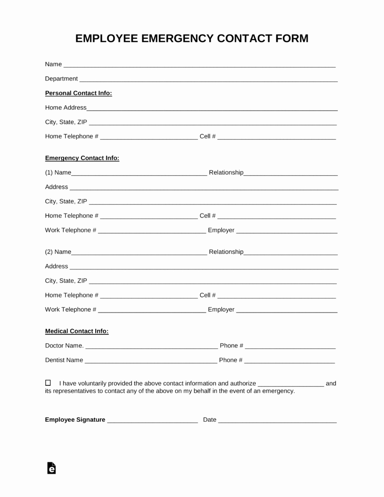 Emergency Contacts form Templates Awesome Free Employee Emergency Contact form Pdf Word