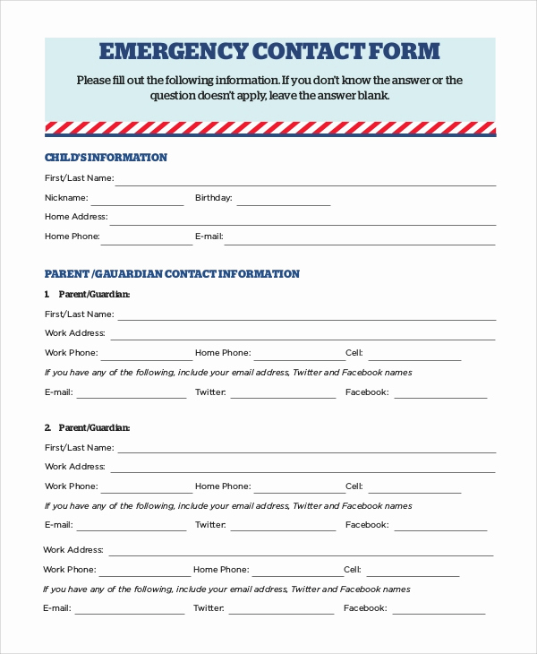 Emergency Contacts form Templates Best Of 8 Sample Emergency Contact forms Pdf Doc