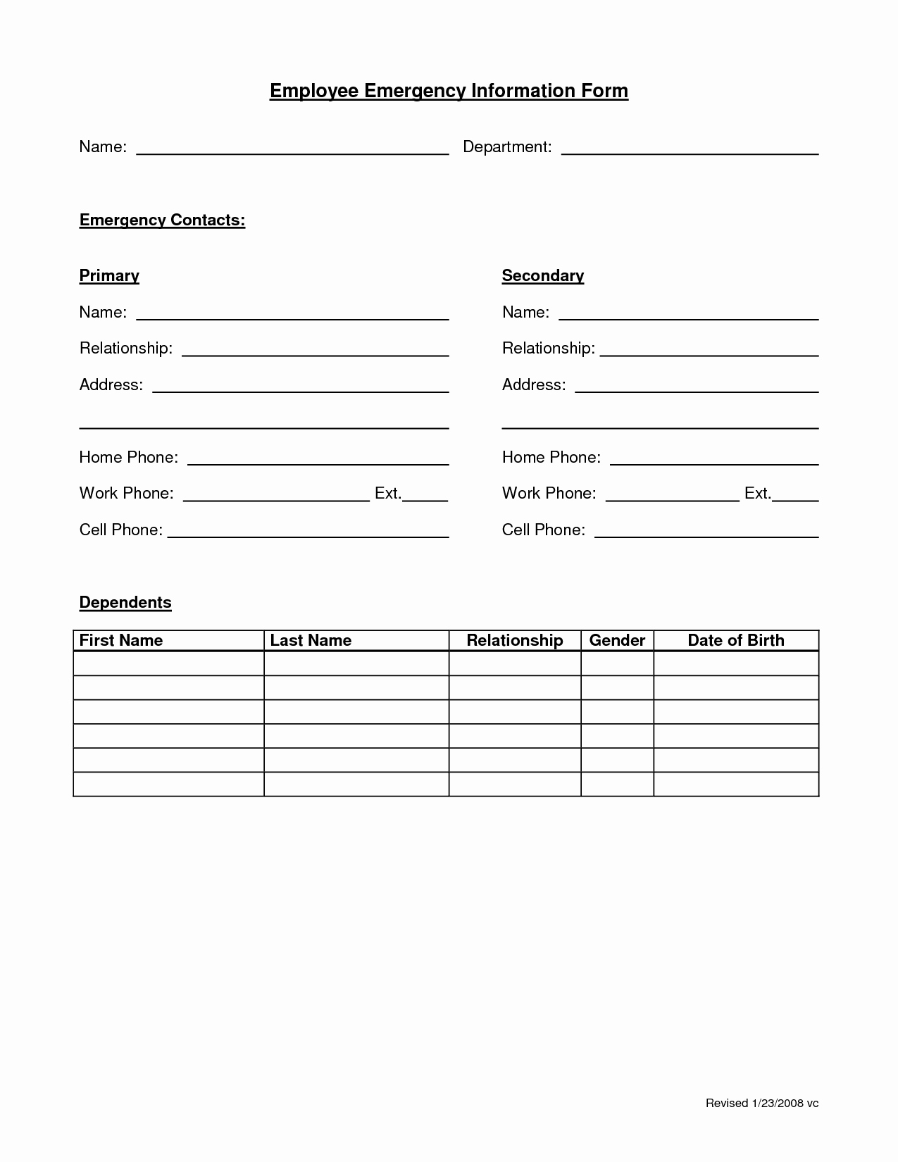 Emergency Contacts form Templates Best Of Employee Emergency form Employee forms