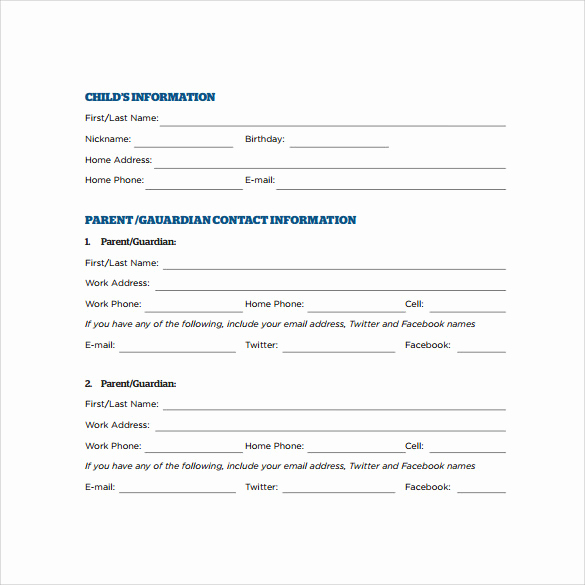 Emergency Contacts form Templates Elegant Emergency Contact forms 11 Download Free Documents In