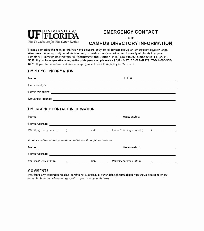 Emergency Contacts form Templates Inspirational 54 Free Emergency Contact forms [employee Student]