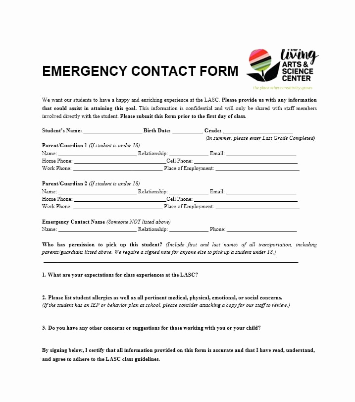 Emergency Contacts form Templates Lovely 54 Free Emergency Contact forms [employee Student]
