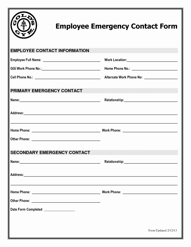 Emergency Contacts form Templates Lovely Employee Emergency Information form Templates