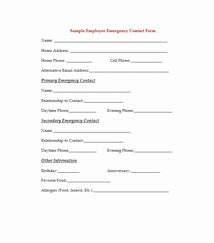 Emergency Contacts form Templates Luxury 54 Free Emergency Contact forms [employee Student]