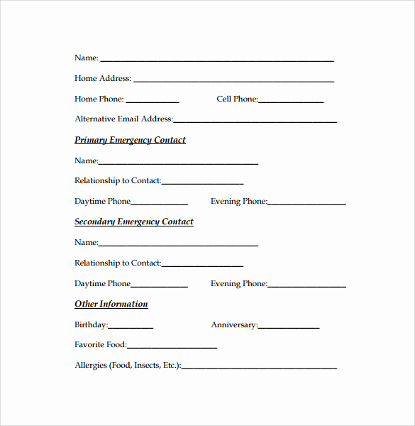 Emergency Contacts form Templates New Emergency Contact forms 11 Download Free Documents In