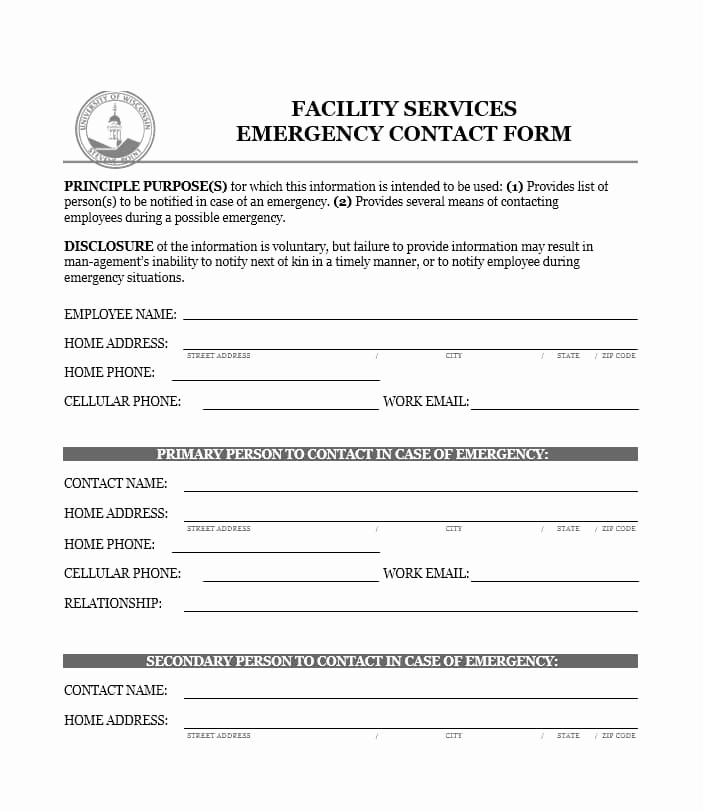 Emergency Contacts form Templates Unique 54 Free Emergency Contact forms [employee Student]