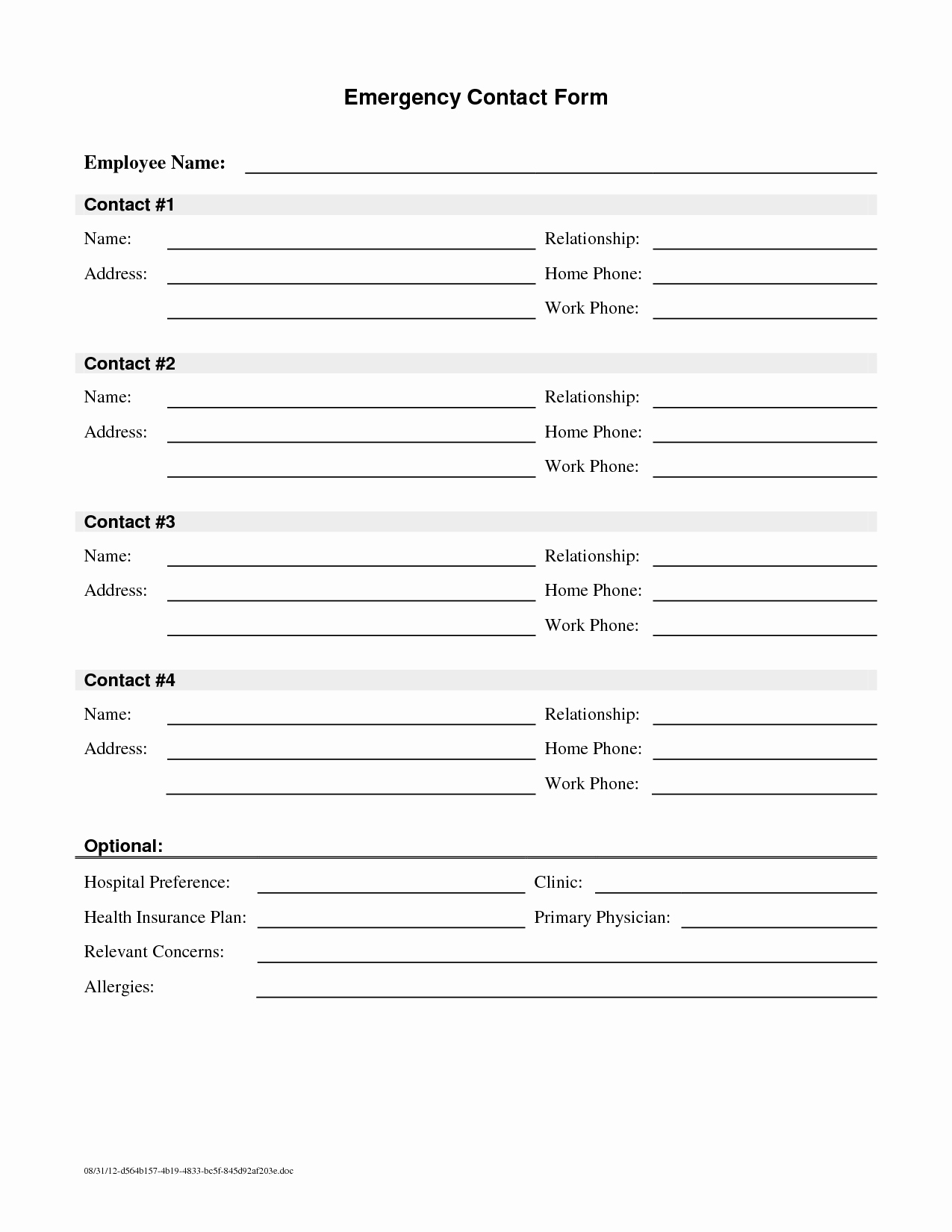 Emergency Contacts form Templates Unique Employee Emergency Contact Printable form to Pin