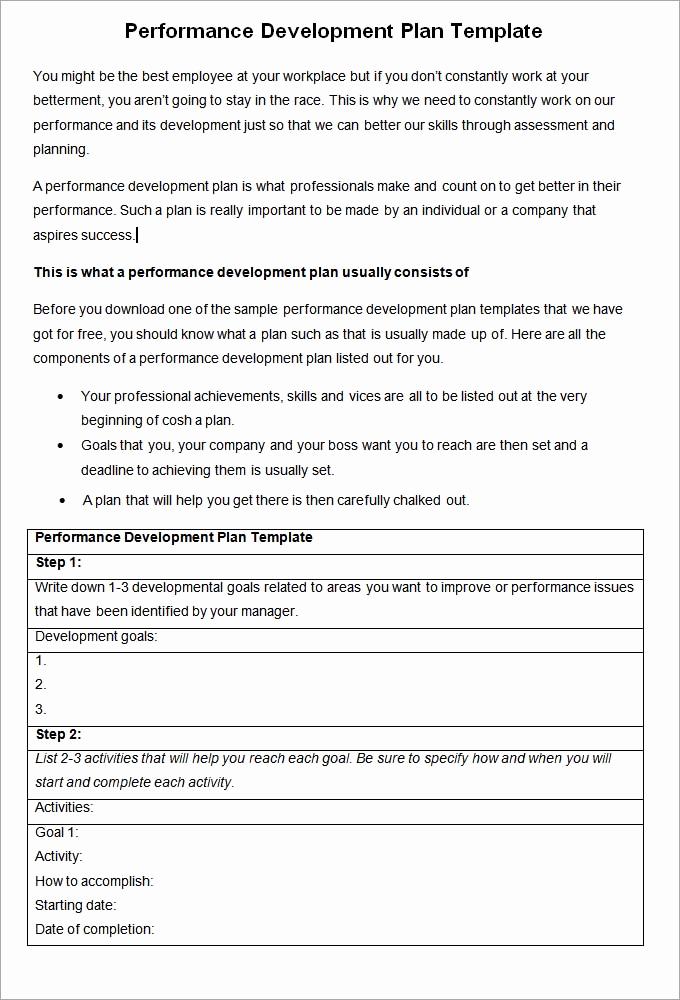 Employee Development Plan Examples Elegant Performance Development Plan Template 10 Development