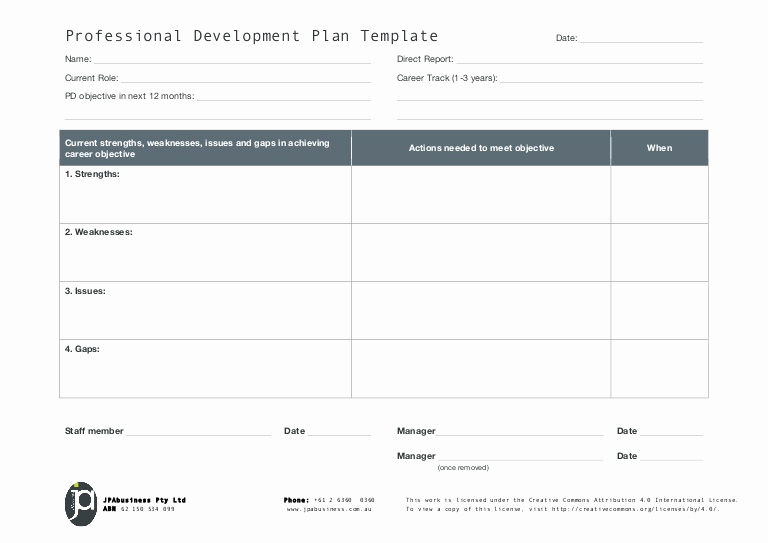 Employee Development Plans Templates Lovely Jpabusiness Professional Development Plan Template