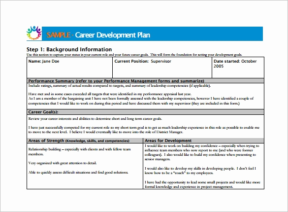 Employee Development Plans Templates New Career Development Plan Template 10 Free Word Pdf
