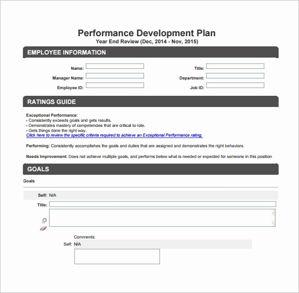 Employee Development Plans Templates Unique Development Plan Template – 11 Free Word Pdf Documents