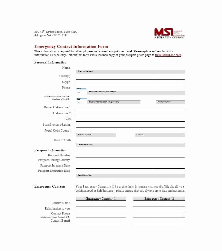 Employee Emergency Contact form Awesome 54 Free Emergency Contact forms [employee Student]