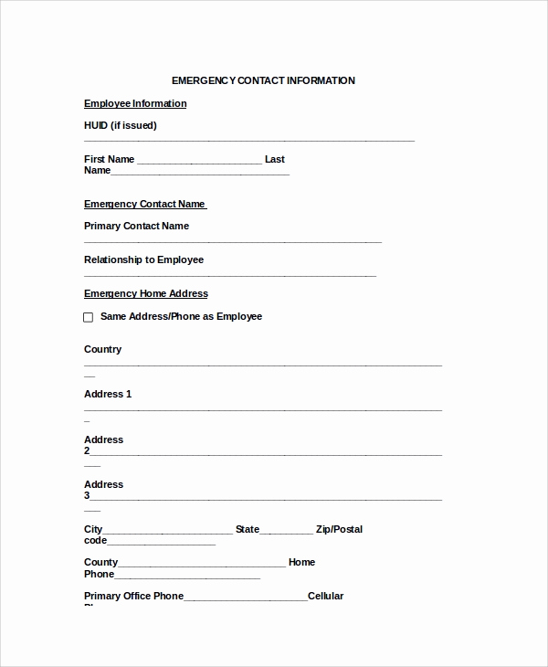 Employee Emergency Contact form Awesome 8 Emergency Contact form Samples Examples Templates