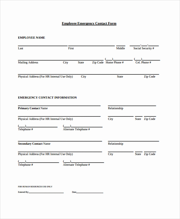 Employee Emergency Contact form Elegant 26 Of Contact form Template Word