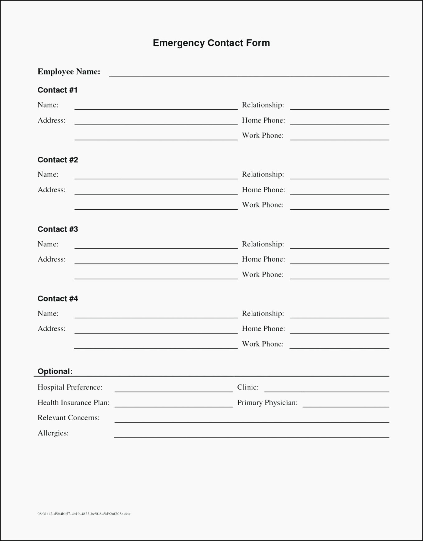 Employee Emergency Contact form Elegant Five Mind Numbing Facts About Emergency