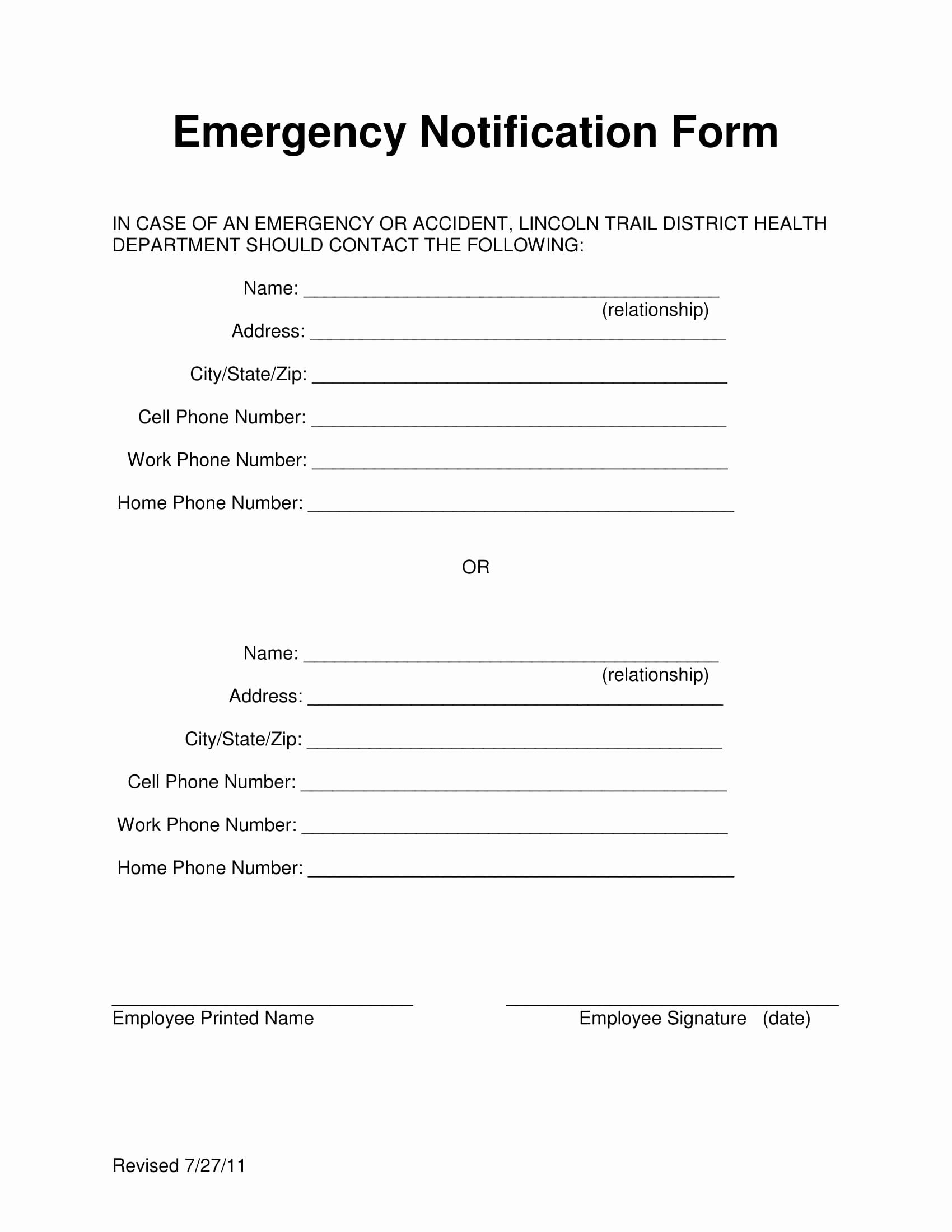 Employee Emergency Contact form Inspirational 14 Employee Emergency Notification forms Free Pdf