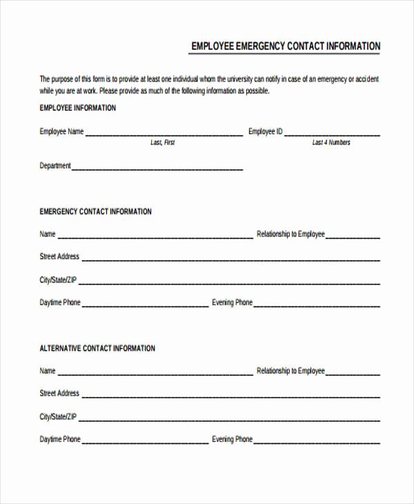 Employee Emergency Contact form Inspirational 32 Emergency Contact form Example