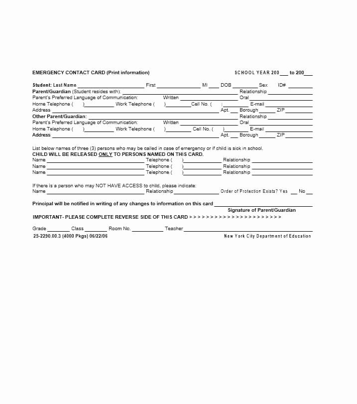 Employee Emergency Contact form Inspirational 54 Free Emergency Contact forms [employee Student]