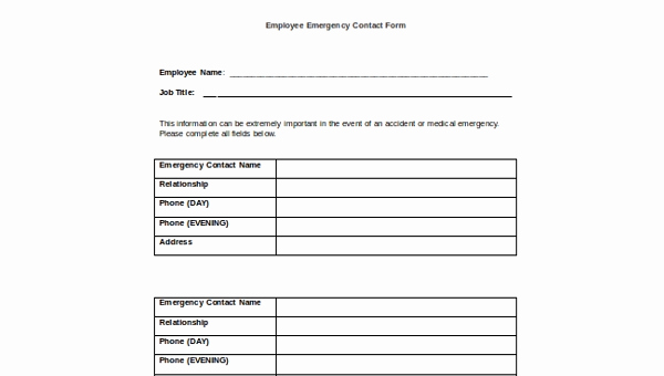 Employee Emergency Contact form Inspirational Sample Employee Emergency Contact form 6 Free Documents