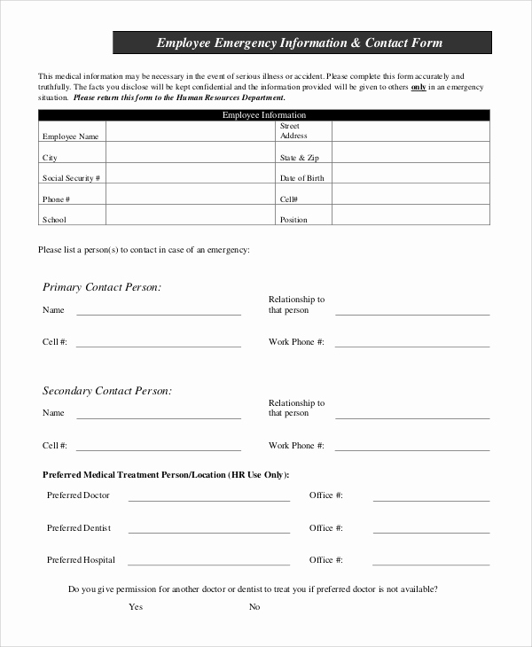 Employee Emergency Contact form Lovely 10 Sample Employee Information forms