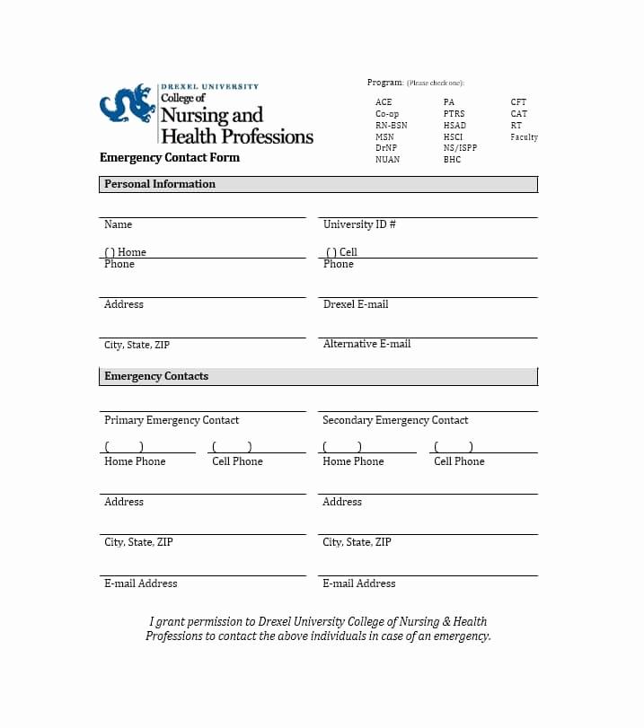 Employee Emergency Contact form Luxury 54 Free Emergency Contact forms [employee Student]