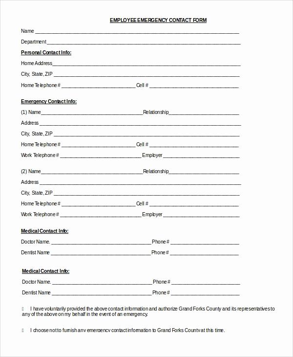 Employee Emergency Contact form Luxury 8 Sample Emergency Contact forms Pdf Doc