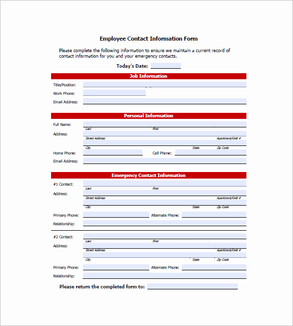 Employee Emergency Contact form Luxury Contact List Template 19 Free Sample Example format