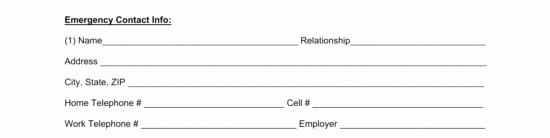 Employee Emergency Contact form Luxury Free Employee Emergency Contact form Pdf Word