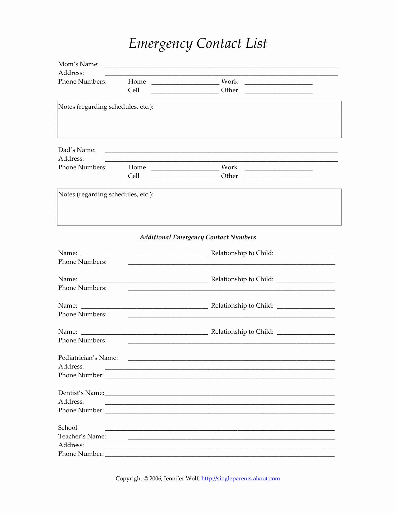 Employee Emergency Contact forms Beautiful Child S Emergency Contact form