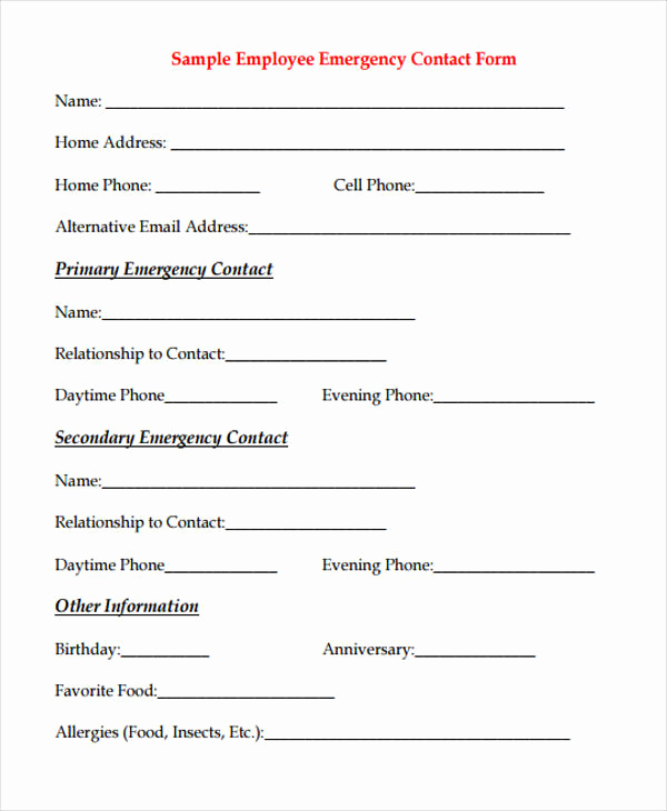 Employee Emergency Contact forms Best Of 32 Emergency Contact form Example