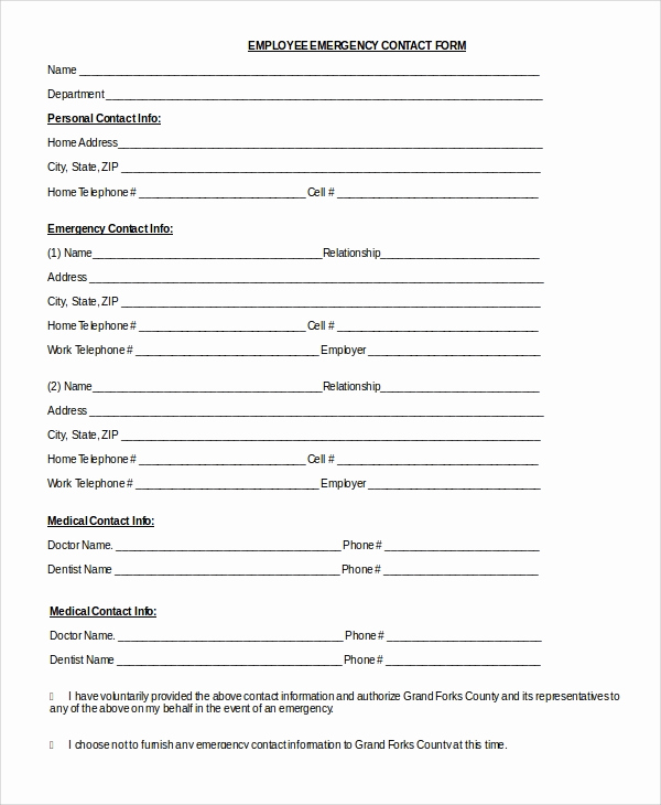 Employee Emergency Contact forms Best Of 8 Sample Emergency Contact forms Pdf Doc