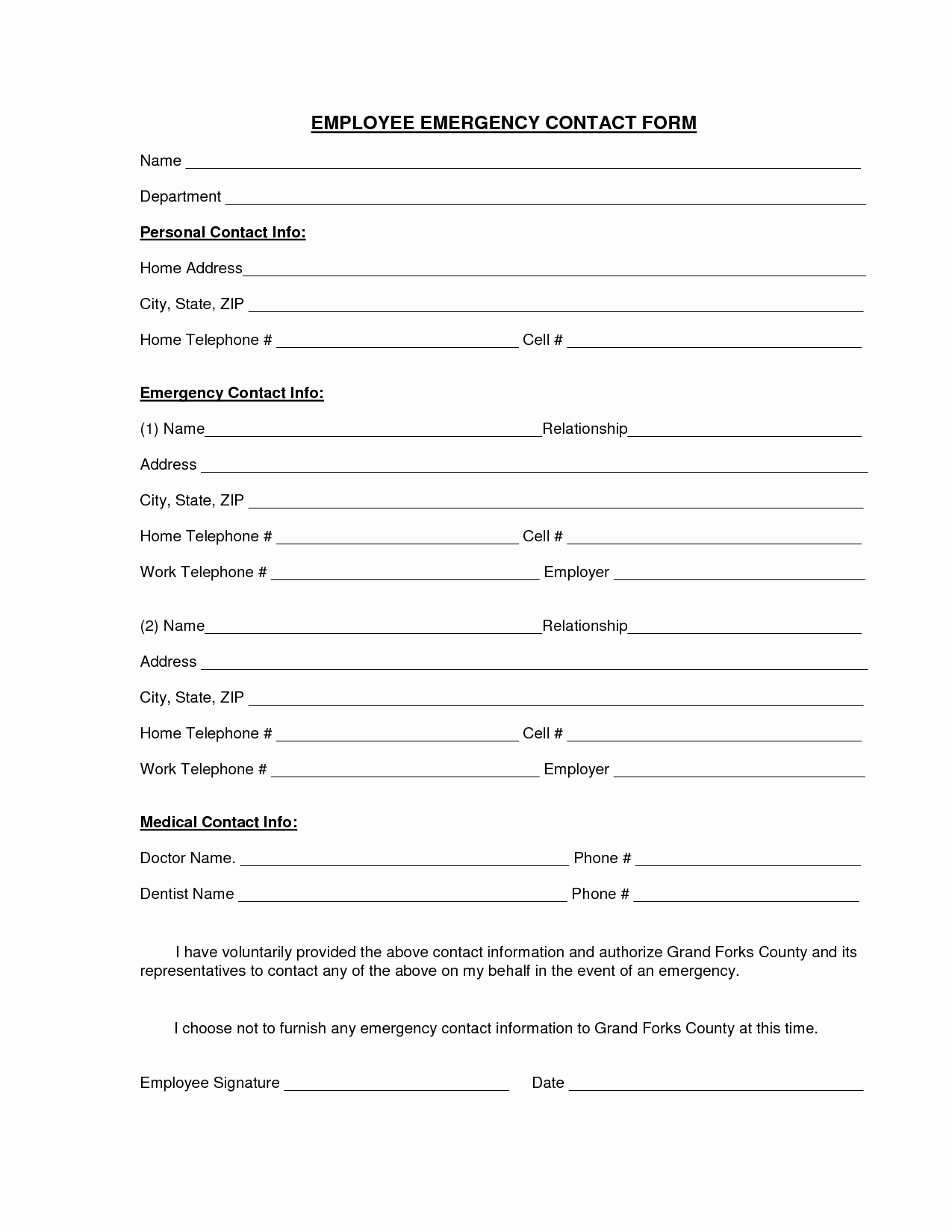 Employee Emergency Contact forms Best Of Employee Emergency Contact Printable form to Pin