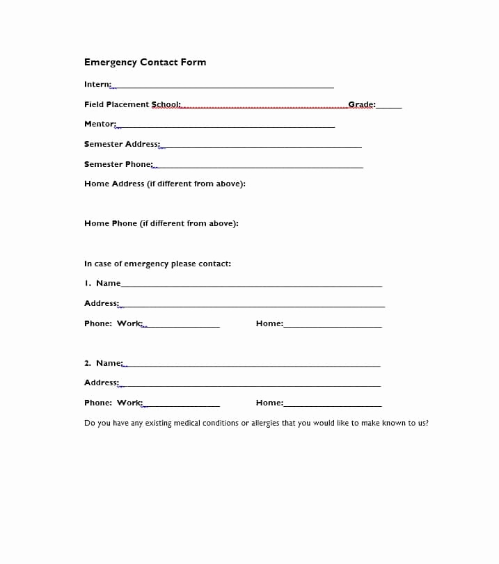 Employee Emergency Contact forms Fresh 54 Free Emergency Contact forms [employee Student]