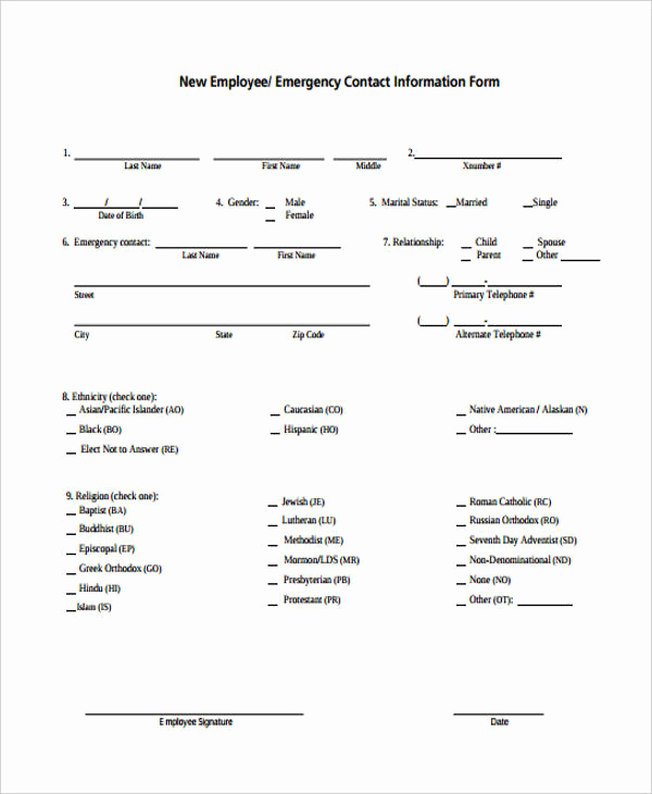 Employee Emergency Contact forms Luxury 32 Emergency Contact form Example