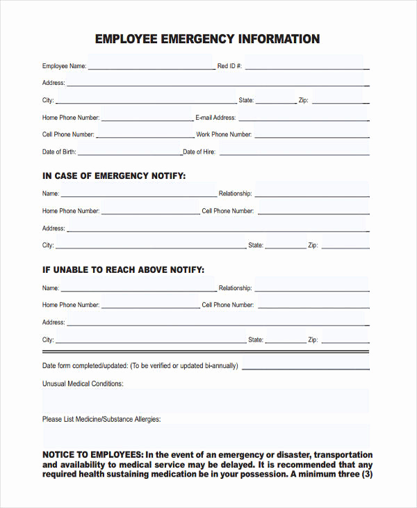 Employee Emergency Contact forms New 10 Emergency Information forms Free Sample Example