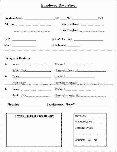Employee Emergency Contact forms New Employee Information Sheet Business