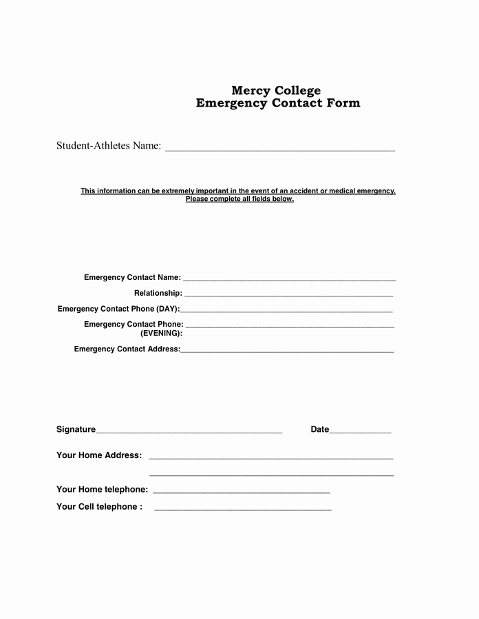 Employee Emergency Contact forms New Staff Emergency Contact form In Word and Pdf formats