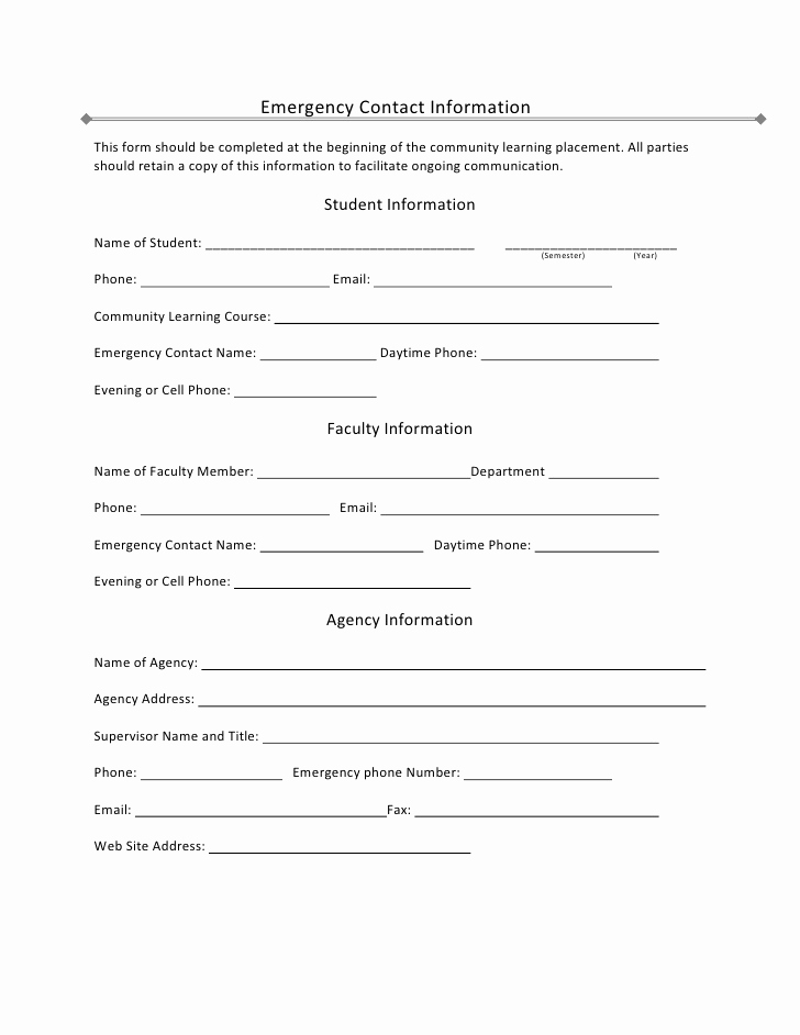 Employee Emergency Contact forms Unique Student Emergency Contact Information
