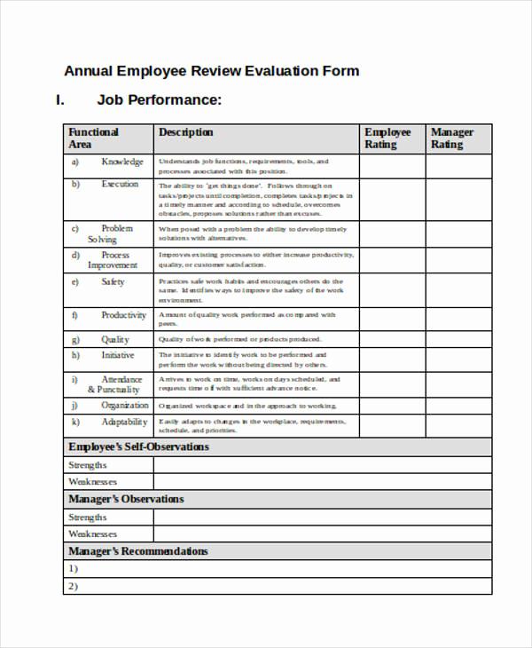 Employee Evaluation form Pdf Beautiful Printable Employee Evaluation form