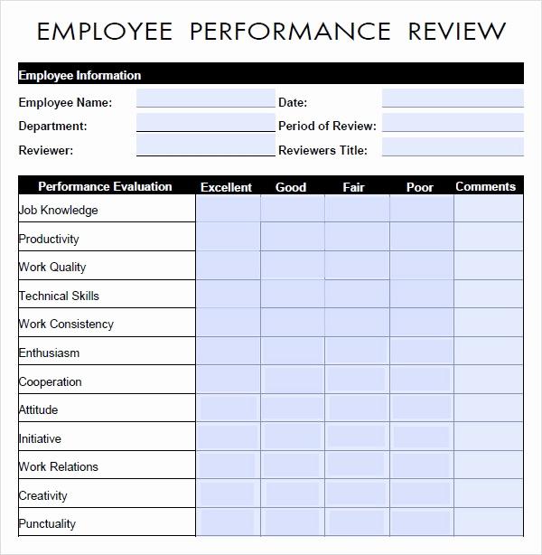 Employee Evaluation form Pdf Elegant Performance Evaluation 9 Download Free Documents In Pdf