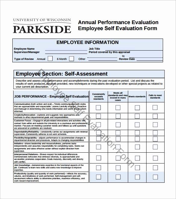 Employee Evaluation form Pdf Fresh 16 Sample Employee Self Evaluation form Pdf Word Pages