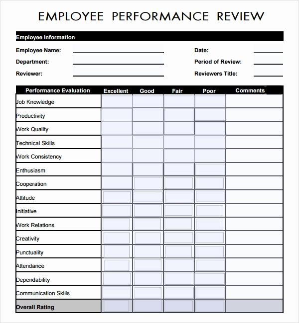 Employee Evaluation form Pdf Luxury Sample Employee Review Template 7 Free Documents