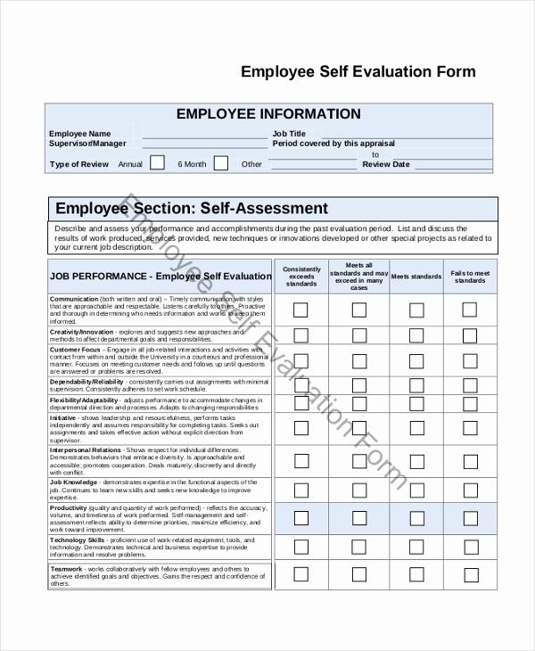 Employee Evaluation form Pdf Luxury Sample Employee Self Evaluation form 8 Free Documents