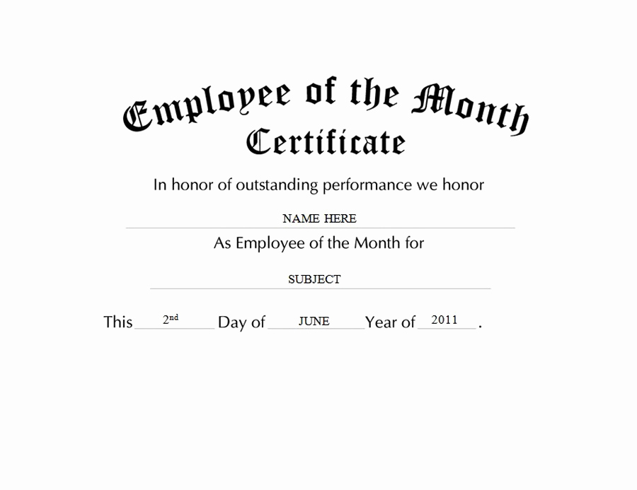 Employee Of the Month Template Awesome Geographics Certificates