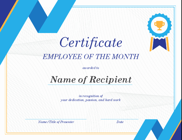 Employee Of the Month Template Beautiful Employee Of the Month Certificate