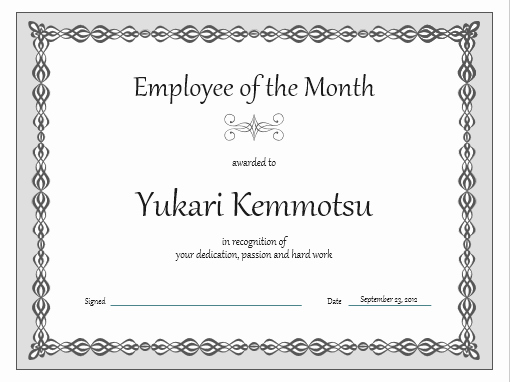 Employee Of the Month Template Best Of Certificate Employee Of the Month Gray Chain Design