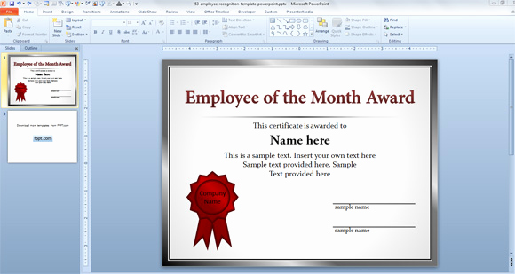 Employee Of the Month Template Best Of Free Employee Templates for Powerpoint Presentations